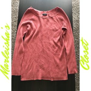 Solid Almond Pink Long Sleeve Sweater